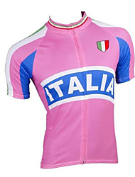 cheap -21Grams Italy National Flag Women's Short Sleeve Cycling Jersey - Pink Bike Jersey Top Breathable Moisture Wicking Quick Dry Sports Terylene Mountain Bike MTB Road Bike Cycling Clothing Apparel