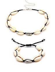 cheap -Women's Bracelet Bangles Necklace Braided Shell Boho Earrings Jewelry Black / White For Street Holiday 1 set
