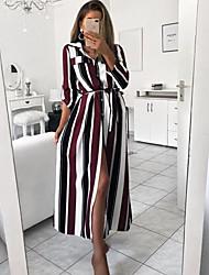 cheap -Women's Basic Shift Dress - Striped Black Wine S M L XL