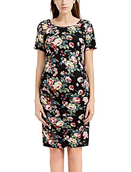 cheap -Women's Above Knee Black Beige Dress Basic Sheath Floral Ruched Patchwork S M