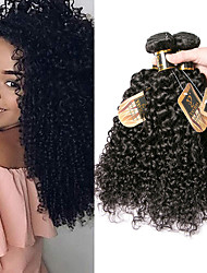 cheap -3 Bundles Indian Hair Kinky Curly Virgin Human Hair 100% Remy Hair Weave Bundles Headpiece Natural Color Hair Weaves / Hair Bulk Extension 8-28 inch Natural Color Human Hair Weaves Odor Free Best