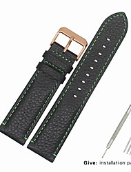 cheap -Genuine Leather / Leather / Calf Hair Watch Band Strap for Black Other 2cm / 0.8 Inches / 2.2cm / 0.9 Inches / 2.3cm / 0.91 Inches