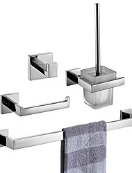 cheap -Bathroom Accessory Set / Towel Bar / Toilet Brush Holder New Design / Creative Contemporary / Traditional Stainless Steel + A Grade ABS / Stainless Steel / Metal 4pcs - Bathroom Wall Mounted