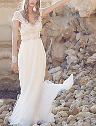 cheap -A-Line V Neck Sweep / Brush Train Chiffon / Lace Short Sleeve Made-To-Measure Wedding Dresses with Beading / Draping 2020
