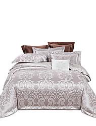 Недорогие -кремово-серый намек блестящая принцесса 250т люкс премиум-отель жаккард из чистого хлопка сантен шелк из четырех частей постельного белья