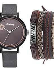 cheap -Men's Dress Watch Quartz Minimalist Chronograph Analog Black Green Brown / One Year / Leather