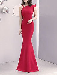 cheap -Mermaid / Trumpet Elegant & Luxurious Sexy Formal Evening Dress One Shoulder Sleeveless Sweep / Brush Train Satin with 2020
