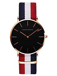 cheap -hannah martin fashion quartz watch nylon strap lovers casual trendy waterproof watch for man woman colour:ch02-f4