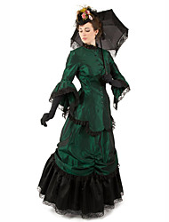 cheap -Duchess Victorian Ball Gown 1910s Edwardian Dress Party Costume Women's Cotton Costume Green Vintage Cosplay Masquerade Long Sleeve Floor Length Long Length Ball Gown Plus Size