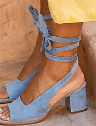 cheap -Women's Sandals Chunky Heel Peep Toe Buckle Suede Spring &  Fall / Summer Brown / Blue / Beige