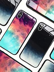 Недорогие -Кейс для Назначение Apple iPhone XS / iPhone XR / iPhone XS Max Зеркальная поверхность Кейс на заднюю панель Градиент цвета / Цвет неба Твердый Закаленное стекло