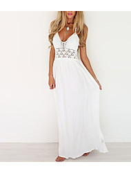 cheap -Women's Backless Maxi White Dress Boho Spring Holiday Beach Chiffon Solid Colored Off Shoulder V Neck Deep V Cut Out S M Slim / Cotton / Super Sexy