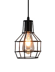 cheap -1-Light Pendant Light Fixtures Cages Wire Cages Hanging Lamps Adjustable Industrial Pendant Lighting Rustic Hallway Suspension Lights