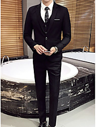 cheap -Black / Dark Navy / Light Grey Solid Colored Standard Fit Polyester Suit - Notch Single Breasted One-button