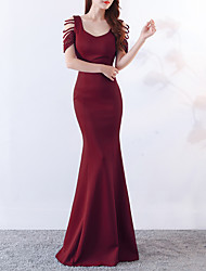 cheap -Mermaid / Trumpet Scoop Neck Sweep / Brush Train Satin Sexy / Elegant & Luxurious Formal Evening Dress with Crystals / Split Front 2020