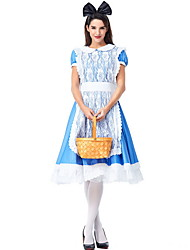 cheap -Alice in Wonderland Costume Women's Fairytale Theme Halloween Performance Cosplay Costumes Theme Party Costumes Women's Dance Costumes Terylene Lace