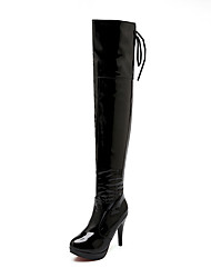 cheap -Women's Boots Over-The-Knee Boots Stiletto Heel Round Toe Patent Leather Over The Knee Boots Classic / Minimalism Fall & Winter Black / White / Red / Party & Evening