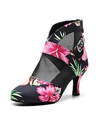 cheap -Women's Dance Shoes Satin Dance Boots Splicing Heel Flared Heel Customizable Rainbow / Performance / Practice