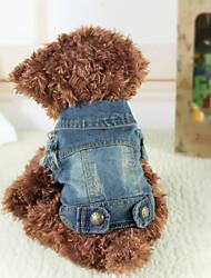 cheap -Dogs Denim Jacket / Jeans Jacket Vest Dog Clothes Dark Blue Costume Pug Bichon Frise Chihuahua Jeans Classic Jeans Cowboy XS S M L XL
