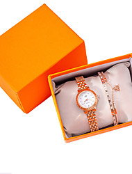 cheap -Women's Quartz Watches New Arrival Elegant Rose Gold Stainless Steel Chinese Quartz Rose Gold Chronograph Cute New Design 2pcs Analog One Year Battery Life
