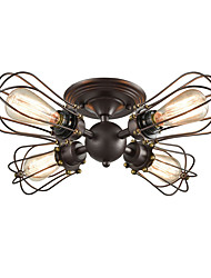cheap -Ceiling Lamp Round Vintage Industrial 4-Lights Wire Caged Ceiling Lights Semi Flush Chandeliers Hallway Dark Brown Wire Cage Ceiling Light Fixtures Kitchen Bedroom