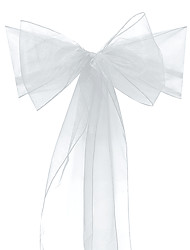 cheap -Adeeing Set of 10 Organza Chair Sashes for Wedding or Events Banquet Decor Covers Chair bow sash Wrap Bands 7x108Inhces White