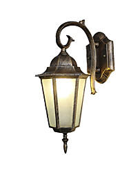 cheap -Outdoor Vintage Wall Lantern American Retro Brass Hexagon Waterproof Sconces for Yard Patio Gate Garden Aluminum &Glass