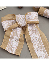cheap -15*240 CM Vintage Jute Burlaps with White Lace Roll Craft Ribbon for Wedding Decoration in Table Runner Chair Sashes