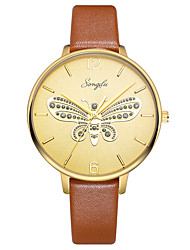 cheap -Women's Dress Watch Quartz Leather Brown 30 m Water Resistant / Waterproof Casual Watch Analog Butterfly Fashion - Golden One Year Battery Life