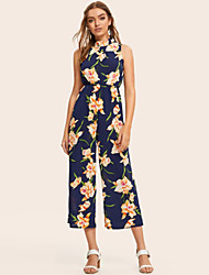 cheap -Women's Basic Stand Blue Wide Leg Jumpsuit Onesie, Geometric Patchwork S M L
