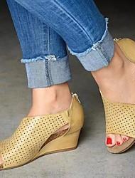 cheap -Women's Heels Wedge Heel PU(Polyurethane) Summer Black / Light Brown / Dark Brown