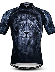 cheap -21Grams 3D Animal Lion Men's Short Sleeve Cycling Jersey - Black Bike Jersey Top Breathable Moisture Wicking Quick Dry Sports Polyester Elastane Mountain Bike MTB Road Bike Cycling Clothing Apparel