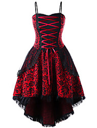 cheap -Women's Red White Dress Vintage Little Black Skater Tribal Strapless Lace Lace up Print S M Slim / Belt Not Included