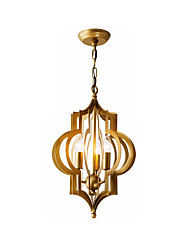 cheap -Vintage 3-Light Metal Chandelier Antique Luxury Golden Metal Ceiling Pendant Lighting for Living Dining Height Adjustable