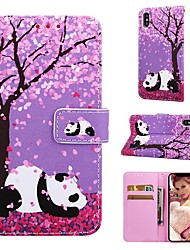 cheap -Case For Apple iPhone XS / iPhone XR / iPhone XS Max Wallet / Card Holder / with Stand Full Body Cases Panda / Flower Hard PU Leather