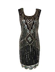 cheap -Diva Disco 1980s Dress Women's Sequins Costume Black / Golden Vintage Cosplay Prom Sleeveless Above Knee Sheath / Column