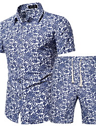 cheap -Men's Plus Size Set Geometric Graphic Print Tops Basic Boho Classic Collar Blue / Short Sleeve / Beach