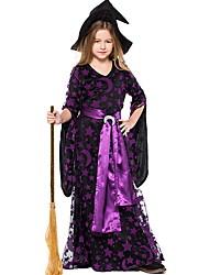 cheap -Witch Costume Girls' Fairytale Theme Halloween Performance Cosplay Costumes Theme Party Costumes Girls' Kids' Dancewear Terylene Pattern / Print