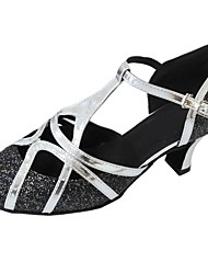 cheap -Women's Modern Shoes / Ballroom Shoes PU T-Strap Heel Sparkling Glitter Cuban Heel Customizable Dance Shoes Black / Silver