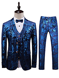 cheap -Tuxedos Standard Fit Notch Single Breasted Two-buttons Polyester / Cotton Blend / Polyster Floral / Botanical