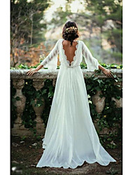 cheap -A-Line Bateau Neck Sweep / Brush Train Chiffon 3/4 Length Sleeve Made-To-Measure Wedding Dresses with 2020
