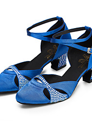 cheap -Women's Modern Shoes / Ballroom Shoes Satin Cross Strap Heel Rhinestone / Crystal / Rhinestone Thick Heel Customizable Dance Shoes Blue / Practice