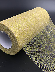 cheap -6` Gold/Silver Glitter Tulle Roll Spool Wedding Bow Decoration Craft Tutu 25 Y Color:Gold