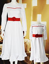 cheap -Aladdin Annabelle Dress Cosplay Costume Women's Movie Cosplay Mini Me White Dress Waist Accessory Halloween Children's Day Masquerade Poly / Cotton Blend