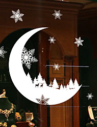 cheap -Window Glass DIY Snow Moon Wall Stickers Home Decal