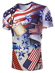 cheap -Men's Daily Wear Plus Size T-shirt - 3D Round Neck White / Short Sleeve