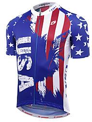 Недорогие -21Grams Американский / США Флаги Муж. С короткими рукавами Велокофты - Синий / белый Велоспорт Джерси Верхняя часть Дышащий Влагоотводящие Быстровысыхающий Виды спорта Терилен Горные велосипеды Одежда