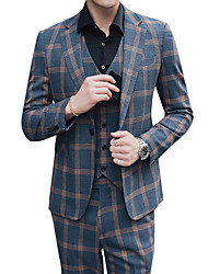 cheap -Tuxedos Standard Fit Notch Single Breasted One-button Polyester Plaid / Check