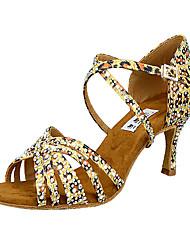 cheap -Women's Latin Shoes Heel Leopard Print Crystal / Rhinestone Flared Heel Leopard Cross Strap Glitter Crystal Sequined Jeweled