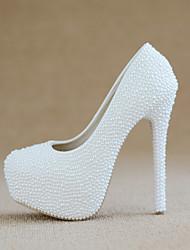 cheap -Women's Wedding Shoes Stiletto Heel Round Toe Imitation Pearl PU Sweet / Minimalism Spring & Summer / Fall & Winter White